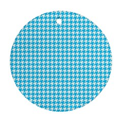 Friendly Houndstooth Pattern,aqua Ornament (round) by MoreColorsinLife