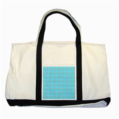 Friendly Houndstooth Pattern,aqua Two Tone Tote Bag by MoreColorsinLife