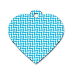 Friendly Houndstooth Pattern,aqua Dog Tag Heart (one Side) by MoreColorsinLife