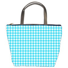 Friendly Houndstooth Pattern,aqua Bucket Bags by MoreColorsinLife