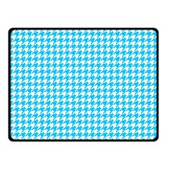 Friendly Houndstooth Pattern,aqua Double Sided Fleece Blanket (small)  by MoreColorsinLife