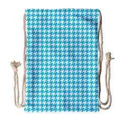 Friendly Houndstooth Pattern,aqua Drawstring Bag (large) by MoreColorsinLife