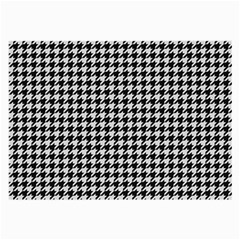 Friendly Houndstooth Pattern,black And White Large Glasses Cloth (2 Side)