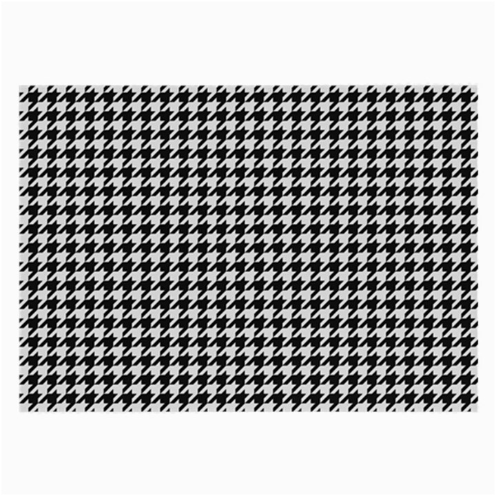 Friendly Houndstooth Pattern,black And White Large Glasses Cloth (2-Side)