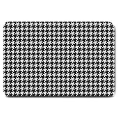 Friendly Houndstooth Pattern,black And White Large Doormat  by MoreColorsinLife
