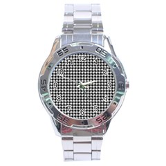 Friendly Houndstooth Pattern,black And White Stainless Steel Analogue Watch by MoreColorsinLife