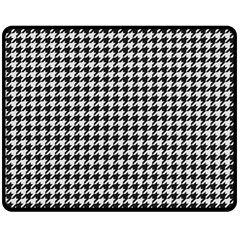 Friendly Houndstooth Pattern,black And White Double Sided Fleece Blanket (medium)  by MoreColorsinLife