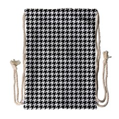 Friendly Houndstooth Pattern,black And White Drawstring Bag (large) by MoreColorsinLife