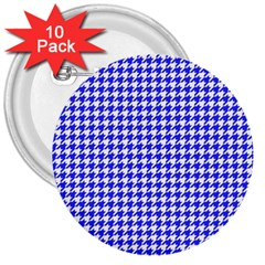 Friendly Houndstooth Pattern,blue 3  Buttons (10 Pack)