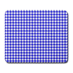 Friendly Houndstooth Pattern,blue Large Mousepads by MoreColorsinLife