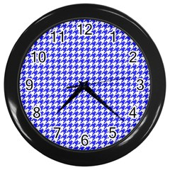 Friendly Houndstooth Pattern,blue Wall Clocks (black) by MoreColorsinLife