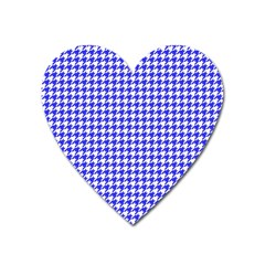 Friendly Houndstooth Pattern,blue Heart Magnet by MoreColorsinLife