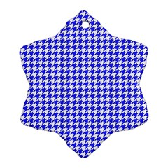 Friendly Houndstooth Pattern,blue Ornament (snowflake) by MoreColorsinLife