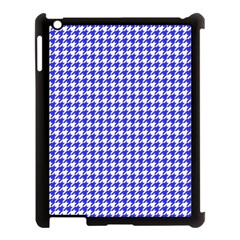 Friendly Houndstooth Pattern,blue Apple Ipad 3/4 Case (black) by MoreColorsinLife