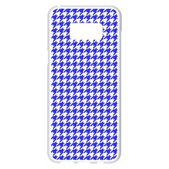 Friendly Houndstooth Pattern,blue Samsung Galaxy S8 Plus White Seamless Case