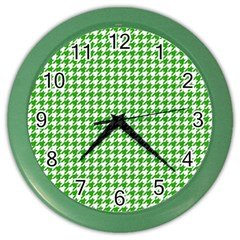 Friendly Houndstooth Pattern,green Color Wall Clocks by MoreColorsinLife