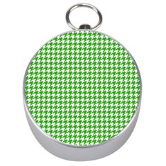 Friendly Houndstooth Pattern,green Silver Compasses by MoreColorsinLife