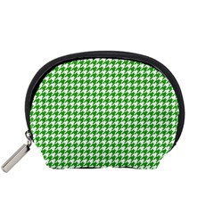 Friendly Houndstooth Pattern,green Accessory Pouches (small)  by MoreColorsinLife