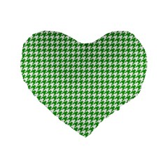 Friendly Houndstooth Pattern,green Standard 16  Premium Flano Heart Shape Cushions by MoreColorsinLife