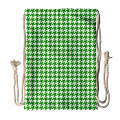 Friendly Houndstooth Pattern,green Drawstring Bag (large) by MoreColorsinLife