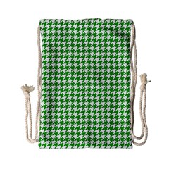 Friendly Houndstooth Pattern,green Drawstring Bag (small) by MoreColorsinLife