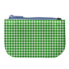 Friendly Houndstooth Pattern,green Large Coin Purse by MoreColorsinLife