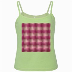 Friendly Houndstooth Pattern,pink Green Spaghetti Tank