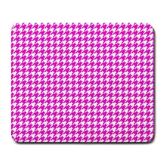 Friendly Houndstooth Pattern,pink Large Mousepads by MoreColorsinLife