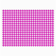 Friendly Houndstooth Pattern,pink Large Glasses Cloth by MoreColorsinLife
