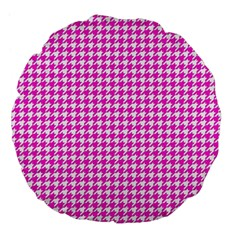 Friendly Houndstooth Pattern,pink Large 18  Premium Flano Round Cushions by MoreColorsinLife
