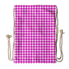 Friendly Houndstooth Pattern,pink Drawstring Bag (large) by MoreColorsinLife