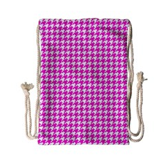 Friendly Houndstooth Pattern,pink Drawstring Bag (small) by MoreColorsinLife