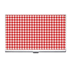 Friendly Houndstooth Pattern,red Business Card Holders by MoreColorsinLife