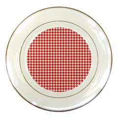 Friendly Houndstooth Pattern,red Porcelain Plates by MoreColorsinLife