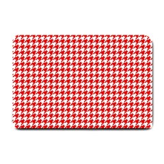 Friendly Houndstooth Pattern,red Small Doormat  by MoreColorsinLife