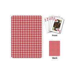 Friendly Houndstooth Pattern,red Playing Cards (mini)  by MoreColorsinLife