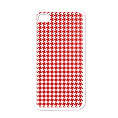 Friendly Houndstooth Pattern,red Apple Iphone 4 Case (white) by MoreColorsinLife