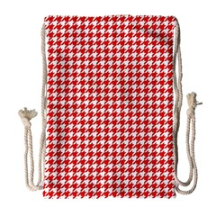 Friendly Houndstooth Pattern,red Drawstring Bag (large) by MoreColorsinLife