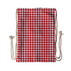 Friendly Houndstooth Pattern,red Drawstring Bag (small) by MoreColorsinLife