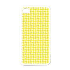 Friendly Houndstooth Pattern,yellow Apple Iphone 4 Case (white) by MoreColorsinLife