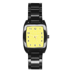 Friendly Houndstooth Pattern,yellow Stainless Steel Barrel Watch by MoreColorsinLife