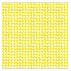 Friendly Houndstooth Pattern,yellow Large Satin Scarf (square) by MoreColorsinLife
