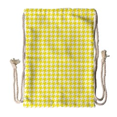 Friendly Houndstooth Pattern,yellow Drawstring Bag (large) by MoreColorsinLife
