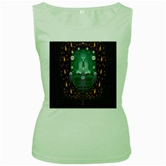 Temple Of Yoga In Light Peace And Human Namaste Style Women s Green Tank Top by pepitasart