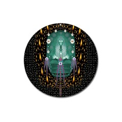 Temple Of Yoga In Light Peace And Human Namaste Style Magnet 3  (round) by pepitasart