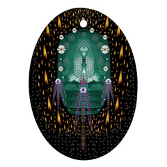 Temple Of Yoga In Light Peace And Human Namaste Style Oval Ornament (two Sides) by pepitasart