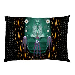 Temple Of Yoga In Light Peace And Human Namaste Style Pillow Case by pepitasart