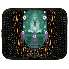 Temple Of Yoga In Light Peace And Human Namaste Style Netbook Case (xl)  by pepitasart