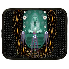Temple Of Yoga In Light Peace And Human Namaste Style Netbook Case (xxl)  by pepitasart