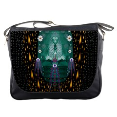 Temple Of Yoga In Light Peace And Human Namaste Style Messenger Bags by pepitasart